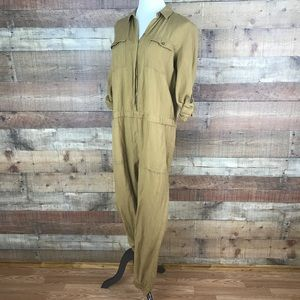 LOFT Camel Linen Blend Long Sleeve Jumpsuit